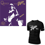 クイーン - QUEEN LIVE AT THE RAINBOW '74 LOGO BLACK T-SHIRT S